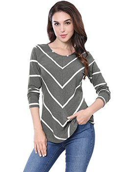 Women's Long Sleeves Scoop Neck Striped Chevron Print Tunic Top by Allegra K