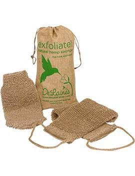 De Laine's Exfoliating Back And Body Scrubber   Natural Hemp   Luxurious Healthy Skin Care For Women And Men   Very Hygienic And Durable To Last A Long Time   Machine Wash And Dry  Large Mitt Bonus by De Laine's Kitchen And Bath