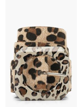 Plus Leopard Contrast Buckle Belt by Boohoo