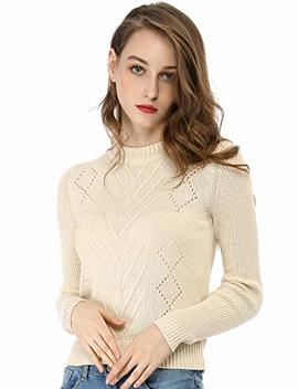 Allegra K Women's Crew Neck Pointelle Hollow Sweater Slim Fit Cropped Knitted Top by Allegra K