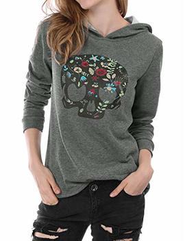 Allegra K Women's Floral Skull Print Pullover Hoodie Hooded Sweatshirt by Allegra K