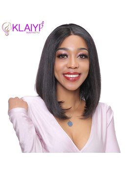 Klaiyi Hair Straight Bob Human Hair Wigs 8 14 Inch Pre Plucked Brazilian Remy Hair 13*3 Inch Lace Front Wig 130 Percents Density by Klaiyi