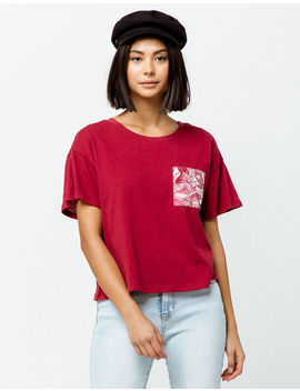 Others Follow Floral Red Womens Crop Pocket Tee by Others Follow
