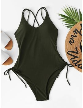 Lace Up Criss Cross One Piece Swimsuit by Sheinside