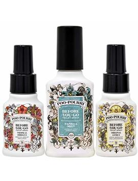 Poo Pourri Vanilla Mint 4 Ounce, Tropical Hibiscus 1.4 Ounce And Original Citrus 1.4 Ounce by Poo Pourri