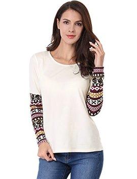 Allegra K Women's Tops Patchwork Long Sleeve Round Neck Skull Shirt by Allegra K
