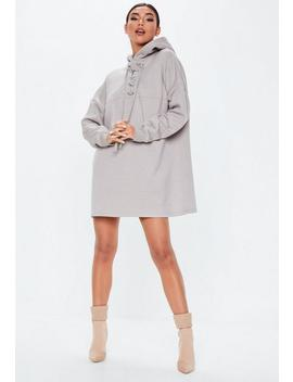 Gray Lace Up Pocket Front Hoodie Dress by Missguided