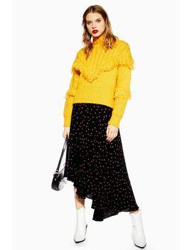 Spot Midi Asymmetric Hem Skirt by Topshop