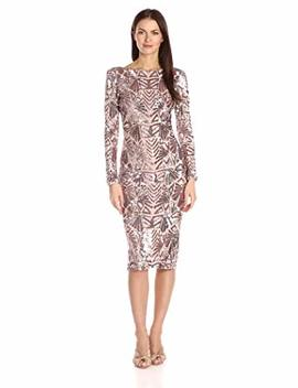 Dress The Population Women's Emery Long Sleeve Stretch Sequin Midi Sheath by Dress The Population