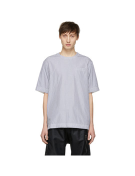 Blue & White Pinstripe Half Sleeve T Shirt by Sacai