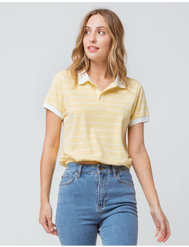 Full Tilt Elastic Hem Stripe Yellow Womens Polo Shirt by Full Tilt