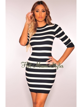 Navy White Striped Ribbed Knit 3/4 Sleeves Dress by Hot Miami Style