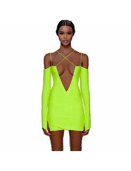 Tobinoone Spaghetti Strap Mini Dress Women Split Long Sleeve Deep V Neck Sexy Bodycon Dress Backless Club Party Dress 2018 by Tobinoone