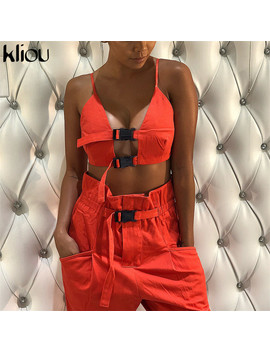 Kliou Sexy Crop Top Strap Button Fly Women Two Pieces Sets 2018 New Arrival Solid Female Casual Pants Button Pockets Tanksuits  by Kliou