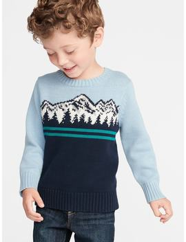 Mountain Graphic Crew Neck Sweater For Toddler Boys by Old Navy