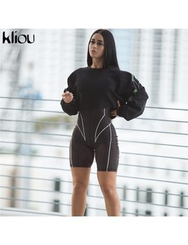 Kliou 2019 New Women Turtleneck Full Sleeve Fitness Playsuit White Striped Patchwork Letter Print Push Up Skinny Casual Bodysuit by Kliou