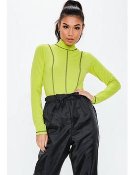 Neon Green Contrast Stitch Bodysuit by Missguided