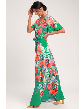Still In Paradise Green Floral Print Maxi Dress by Lulus