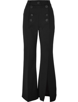 Button Embellished Crepe Flared Pants by A.W.A.K.E.