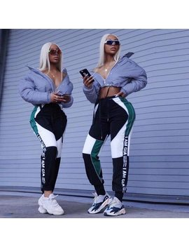 Gia Women High Waist Shine Letter Print Loose Harem Green Pants Street Wear Sweatpants Womens Trousers Spliced Pants Pantalon by Orsherlly