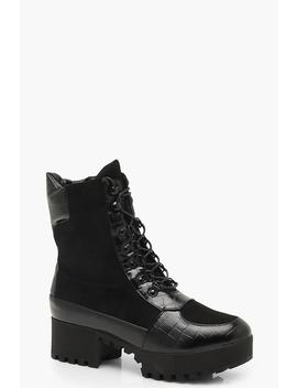 Croc Mix Chunky Hiker Boots by Boohoo