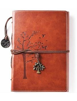 Lined Refillable Vintage Writing Journal For Women, Retro Tree Of Life Faux Leather Cover Notebook/Travel Diary,Wide Ruled Paper,Daily Use Gift For Bloggers/Teachers/Back To College Students by Valery