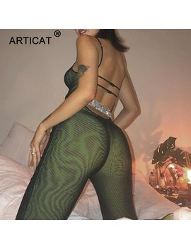 Articat Sexy Mesh Transparent Jumpsuit Women Bodysuit Spaghetti Strap Backless Bodycon Women Long Pants Party Playsuit Overalls by Articat