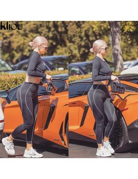 Kliou White Striped Patchwork Women Fitness 2 Pieces Sets 2018 Autumn Full Sleeve Top Active Wear Sporting Leggings Tracksuits by Kliou