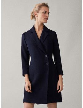 Granatowa ZakŁadana Sukienka Typu Blezer by Massimo Dutti
