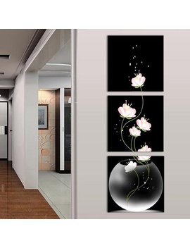 Micelec 3 Panels Unframed Vase With Flower Canvas Painting Picture Wall Craft Home Decor by Micelec