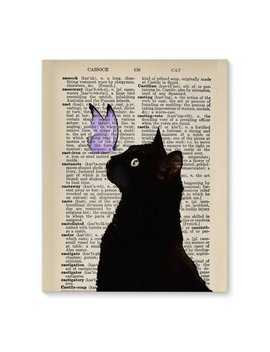 Wrought Studio 'black Cat Light Purple Butterfly Vintage' Graphic Art Print On Wrapped Canvas In Purple/Black/Beige by Wrought Studio