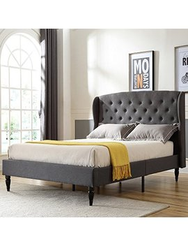 Classic Brands De Coro Coventry Upholstered Platform Bed | Headboard And Metal Frame With Wood Slat Support | Grey, Queen by Classic Brands