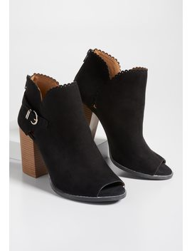 Taryn Open Toe Scallop Trim Bootie by Maurices