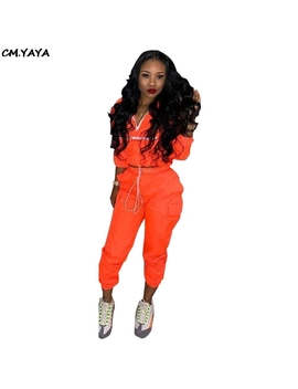 2019 New Women Zip Up Neck Long Sleeve Short Trench Safari Long Pants Suits Two Pieces Set Sporting Tracksuit Outfit Gld8238 by Cm.Yaya