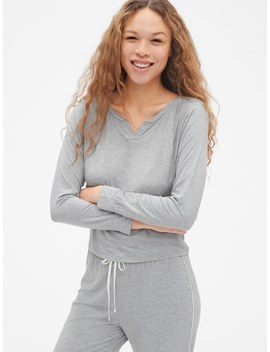 Long Sleeve Notch Neck Top In Modal by Gap
