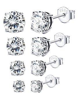 Sllaiss 3 6 Mm Sterling Silver Cubic Zirconia Stud Earrings For Women Men Round Cut Cz Earrings Set Hypoallergenic by Sllaiss