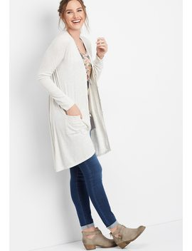 Ribbed Button Front Duster Cardigan by Maurices