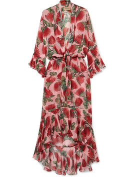 Fiore Ruffled Tie Detailed Floral Print Silk Chiffon Dress by Adriana Degreas