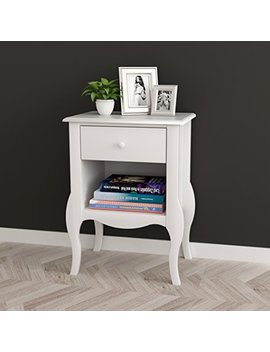 White Nightstand Side End Table Curved Legs With Drawer And Open Space by E Home Products