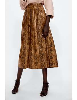 Snakeskin Print Pleated Midi Skirt  Skirtswoman Sale by Zara