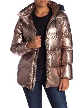 Faux Fur Trim Hood Metallic Puffer Jacket by Sam Edelman