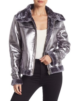 Metallic Faux Leather Faux Fur Lined Jacket by Do + Be