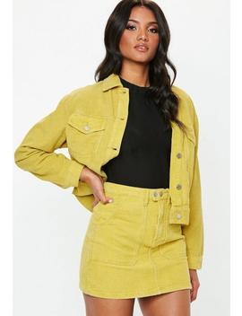Yellow Cord Mini Skirt Co Ord by Missguided