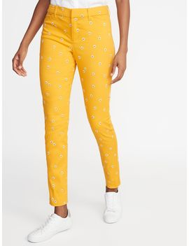 Mid Rise Daisy Print Pixie Ankle Pants For Women by Old Navy