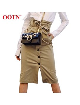 Ootn High Waist Midi Pencil Skirt Women Bow Tie Sashes Button Khaki Long Skirts Female 2018 Summer Autumn Casual Skirts Slim by Ootn