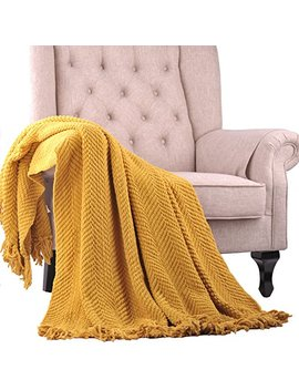 """Home Soft Things Boon Knitted Tweed Throw Couch Cover Blanket, 60"""" X 80"""", Lemon Curry by Home Soft Things"""