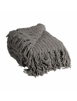 J&M Home Fashions 2173 A Luxury Chenille Woven Knitted Throw Blanket With Fringe, Reversible, Soft, Warm For Bed, Chair, Couch, Camping, Beach, Or Travel, 50x60, Gray by J&M Home Fashions
