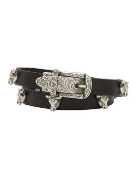 Black & Silver Buckle Bracelet by Gucci