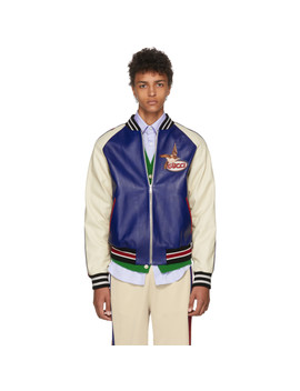 Blue & Beige Leather Bomber Jacket by Gucci