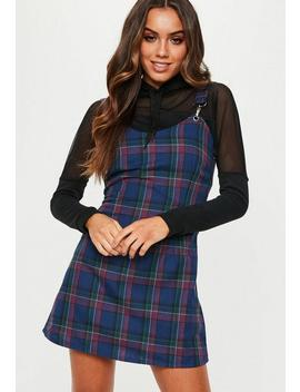 Blue Check Pinafore Dress by Missguided